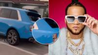 El Alfa el Jefe tirotean su yipeta Rolls Royce en Miami